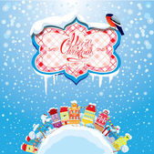 Christmas and New Year holidays card with small fairy town on light blue sky background with decorative colorful houses in winter time. — Vecteur