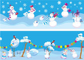 Set of 2 Horizontal seamless backgrounds with cute snowmen for C — Stock Vector