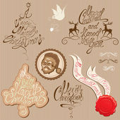 Christmas and New Year vintage decoration collection in beige an — Stockvector