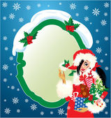 Brunette Christmas Girl wearing Santa Claus suit and carrying ch — Stockvector