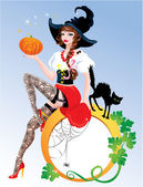 Brunette Pin Up Halloween Girl wearing witch suit and stockings — Stock Vector