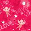 Valentines Day seamless pattern with Cupid, hand drawn hearts, k — Stock vektor