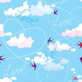 Seamless pattern with swallows, hearts and clouds on blue sky. — Stock Vector
