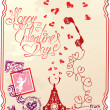 Holiday card with hand written text Happy Valentines Day — Imagen vectorial