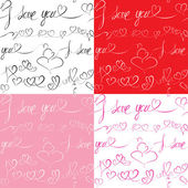 Set of Seamless patterns with hand drawn hearts and text: I love — Vettoriale Stock