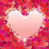 Valentine's day lub tło wesele z konfetti czerwone serca. — Wektor stockowy