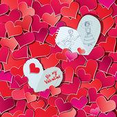 Naadloze patroon met rode harten confetti en twee grote papier horen — Stockvector