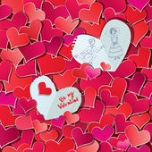 Seamless mönster med röda hjärtan konfetti och två stora papper höra — Stockvektor