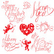 Set of hand written text: Happy Valentines Day, I love you, Mer — Stockvektor