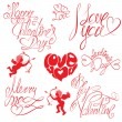 Set of hand written text: Happy Valentines Day, I love you, Mer — Vector de stock