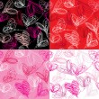 Vettoriale Stock : Seamless pattern with hand drawn scribble hearts on red backgrou