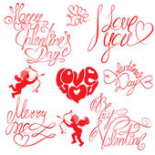 Set of hand written text: Happy Valentines Day, I love you, Mer — Vettoriale Stock