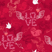 Valentines Day seamless pattern with hand drawn hearts, keys and — Stock Vector