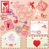 Collection of love mail design elements - stamps, envelops, post — Stock Vector