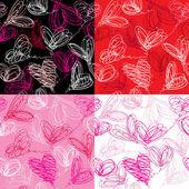 χωρίς ραφή πρότυπο με το χέρι που κακογράφω καρδιές σε κόκκινο φόντο — Διανυσματικό Αρχείο