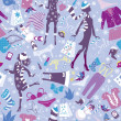 Seamless pattern in pink colors - Silhouettes of fashionable gir — 图库矢量图片