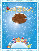 Christmas and New Year holidays card with small fairy town on li — 图库矢量图片