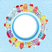 Abstract round banner with small fairy town on light blue sky ba — 图库矢量图片