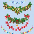 Set of Christmas and New Year garlands with horse toy, bell, bow — Stockvektor