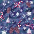 Christmas and New Year background in blue colors - fir tree text — Векторная иллюстрация