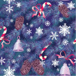 Christmas and New Year background in blue colors - fir tree text — ベクター素材ストック