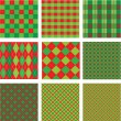 Set of Christmas and New Year plaid seamless patterns in red and — Stock Vector
