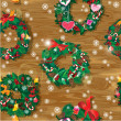 Christmas and New Year Seamless pattern with wreaths decorated h — Stockvectorbeeld