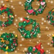 Christmas and New Year Seamless pattern with wreaths decorated h — Image vectorielle