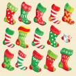 Set of various Christmas stockings. Elements for X-mas and New Y — Stock Vector #32803639