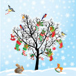 图库矢量图片: Winter tree with birds, squirrel, Xmas shoes, candies and presen