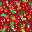 X-mas and New Year background with Christmas stockings. Seamless — Imagen vectorial