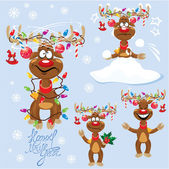 Set of four funny rein deers with christmas lights tangled in an — Vector de stock