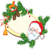 Christmas and New Year background - Santa Claus head, fir tree b — Vetorial Stock