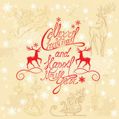Holiday card with hand written text Merry Christmas and Happy Ne — 图库矢量图片