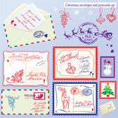 Collection de Noël enveloppes, cartes postales, timbres et main dra — Vecteur