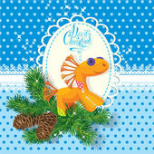 Christmas and New Year card with soft horse toy and fir tree bra — Cтоковый вектор