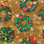Christmas and New Year Seamless pattern with wreaths decorated h — ストックベクタ