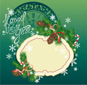 New Year background - fir tree branches and pine cones - frame o — Stock Vector