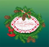 Christmas and New Year background - fir tree branches, pine cone — Stockvector