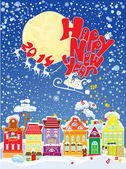 New Year card with flying rein deers on sky background - 2014 — Vector de stock