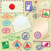 Collection of Christmas stamps, envelops, labels - Christmas and — Stock Vector
