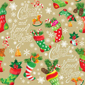 X-mas and New Year background with Christmas stockings. Seamless — Stock Vector
