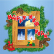 Vector de stock : Christmas and New Year card with flying reindeers on sky backgro