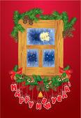 Weihnachten und neujahr karte fliegende rentiere am himmel backgro — Stockvektor