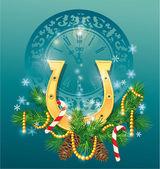 Kerstmis en nieuwjaar achtergrond met gouden paard shoe - symbo — Stockvector