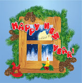 Christmas and New Year card with flying reindeers on sky backgro — Cтоковый вектор