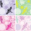Set of four floral seamless patterns with flowers and dragonfly — 图库矢量图片