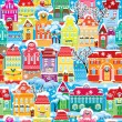 Vector de stock : Seamless pattern with decorative colorful houses in winter time.