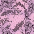 Seamless Floral Pattern With hand-drawn flowers and dragonflies — Image vectorielle