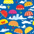 Seamless pattern with colorful umbrellas and clouds on blue back — Stock Vector